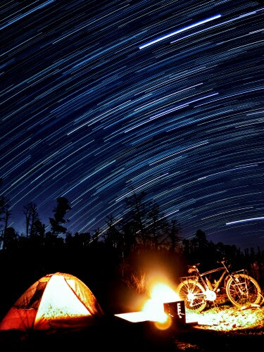 Picture of bicycle touring and bike camping under the stars