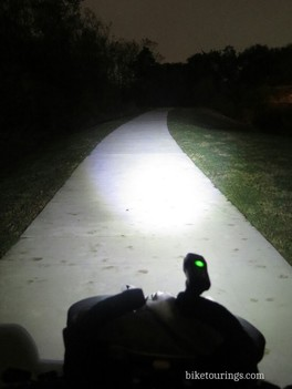 Picture of Cygolite Metro front bike light on bicycle path at night
