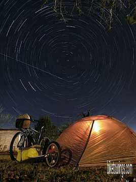 Picture of bike camping with tent for bicycle touring