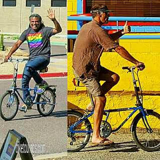 Picture of Bicycle Nomad and Bike Tourings' blog author riding Dahon Mariner folding bike for travel