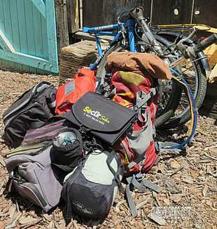 Picture of bikepacking gear and kit with Dahon folding bike for travel
