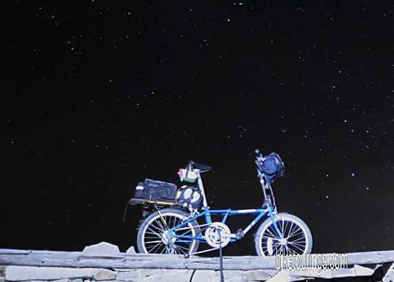 Picture of Dahon folding bike with bike touring kit for bike camping