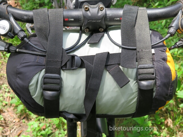 Picture handle bar pack bag for bike packing with Compression Dry Bag