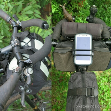 Picture mountain bike for bicycle touring and bike packing with handlebar tape