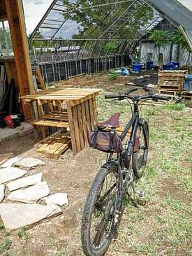 Picture of mountain bike for bike touring and bikepacking at herb shade house, New Mexico