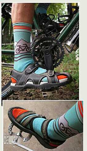 Picture of favorite pedal and footwear options for bikepacking, bicycle touring and commuting