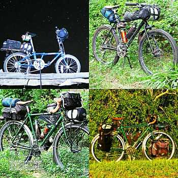 Picture of various bikepacking and bicycle touring gear packing methods