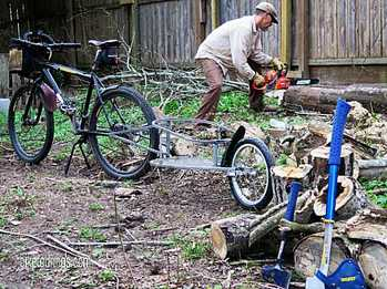 Picture mountain bike for touring and use of bicycle trailer for moving firewood