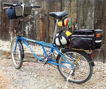 Picture of Dahon Mariner folding bike for travel with bike camping gear