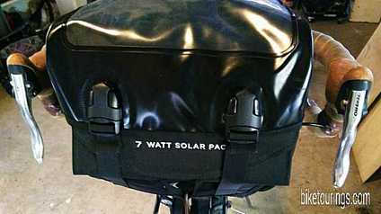 Picture Detours Sodo Handlebar bag with 7 watt solar panel for bike touring