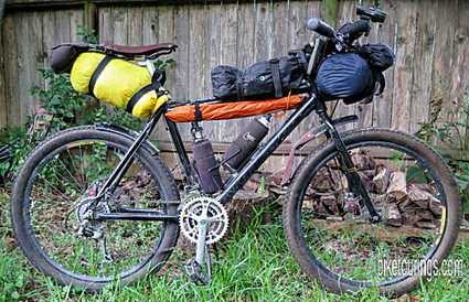 Picture of bike packing load with REI Quarter Dome tent poles
