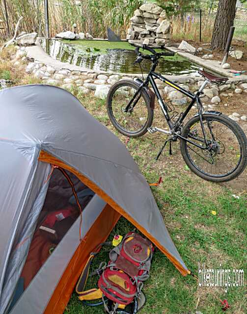 Picture Of Mountain Bike For Touring And Packing With Tent