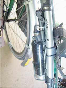 Picture of frame mounted bike pump for bicycle touring and bike commuting